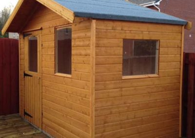 Garden shed with gable roof