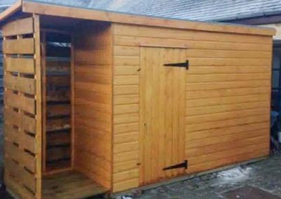 Shed with covered storage area